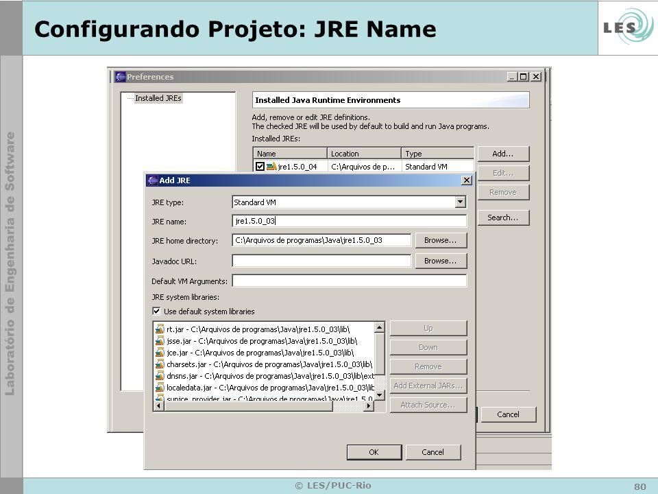 80 © LES/PUC-Rio Configurando Projeto: JRE Name