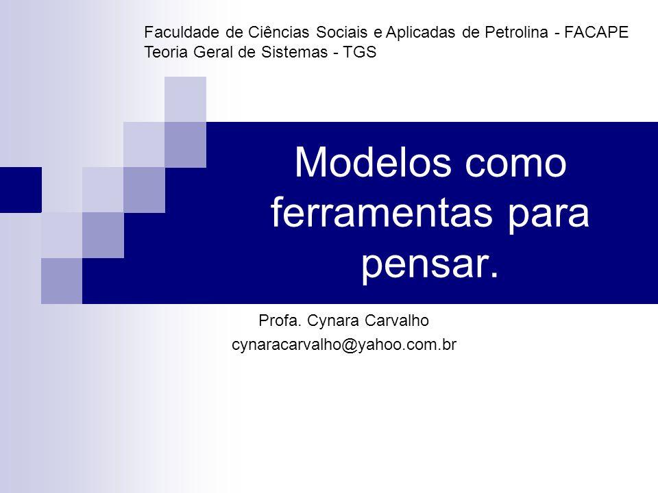 Modelos como ferramentas para pensar. Profa. Cynara Carvalho cynaracarvalho@yahoo.com.br Faculdade de Ciências Sociais e Aplicadas de Petrolina - FACA