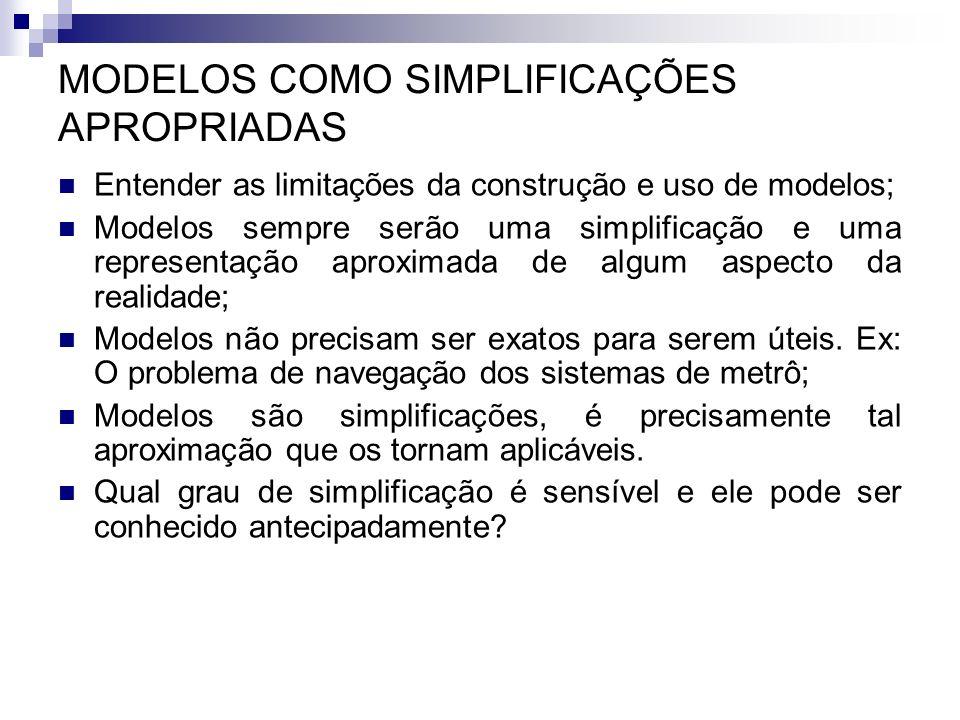 MODELOS COMO SIMPLIFICAÇÕES APROPRIADAS Entender as limitações da construção e uso de modelos; Modelos sempre serão uma simplificação e uma representa