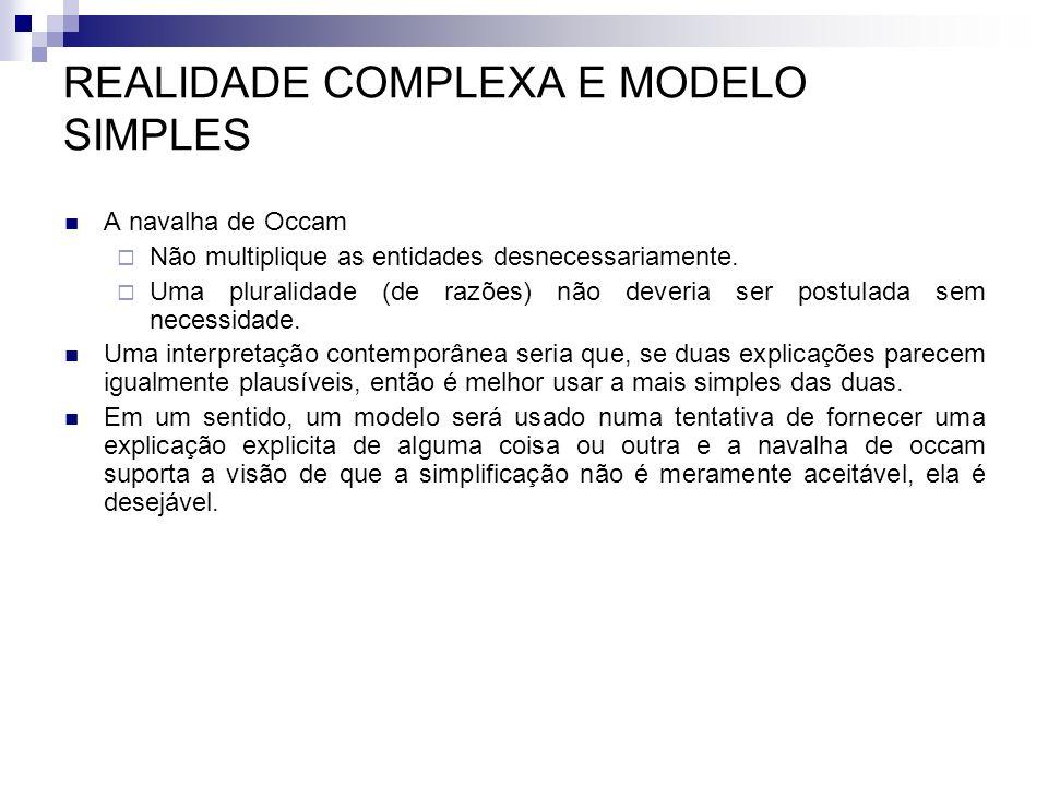 REALIDADE COMPLEXA E MODELO SIMPLES A navalha de Occam Não multiplique as entidades desnecessariamente. Uma pluralidade (de razões) não deveria ser po