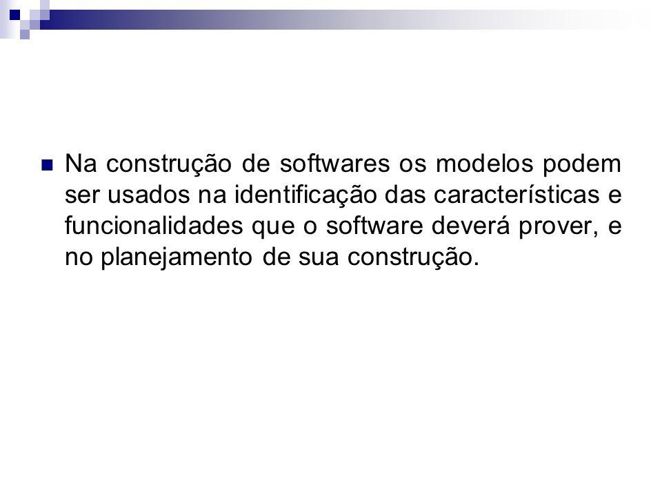 Na construção de softwares os modelos podem ser usados na identificação das características e funcionalidades que o software deverá prover, e no plane