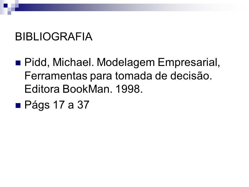 BIBLIOGRAFIA Pidd, Michael. Modelagem Empresarial, Ferramentas para tomada de decisão. Editora BookMan. 1998. Págs 17 a 37