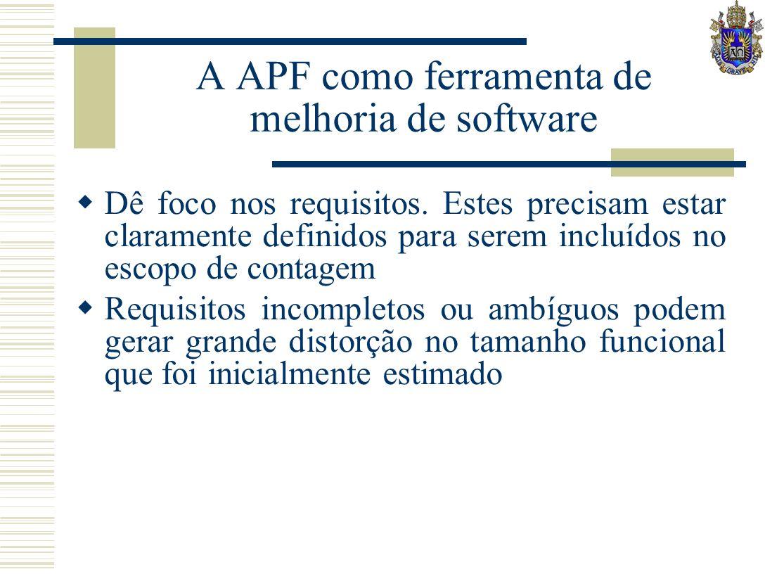 A APF como ferramenta de melhoria de software Dê foco nos requisitos. Estes precisam estar claramente definidos para serem incluídos no escopo de cont