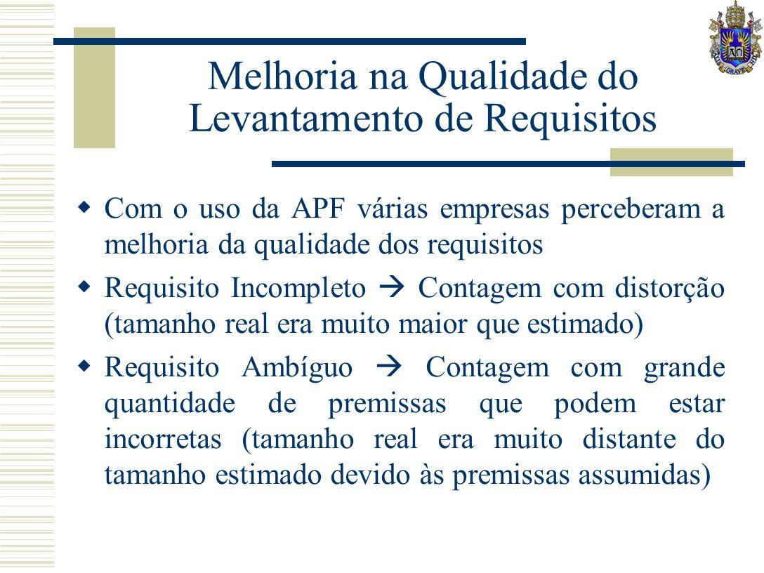 Melhoria na Qualidade do Levantamento de Requisitos Com o uso da APF várias empresas perceberam a melhoria da qualidade dos requisitos Requisito Incom