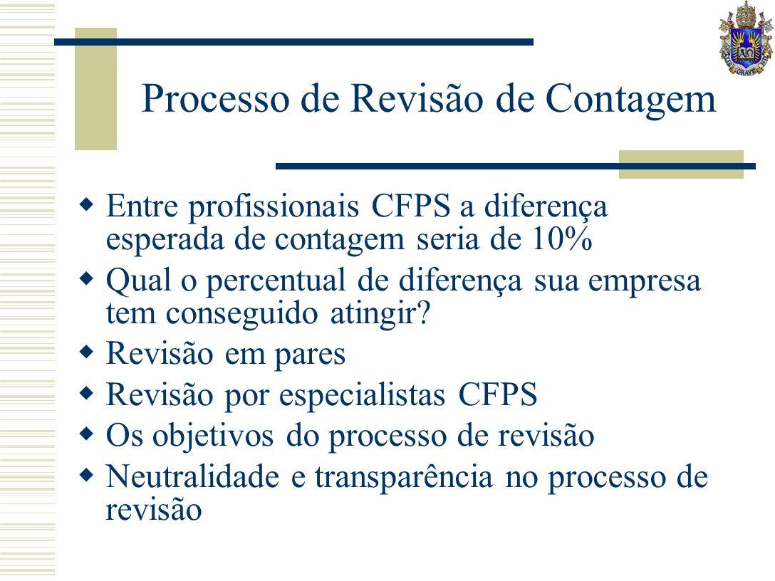 Processo de Revisão de Contagem Entre profissionais CFPS a diferença esperada de contagem seria de 10% Qual o percentual de diferença sua empresa tem