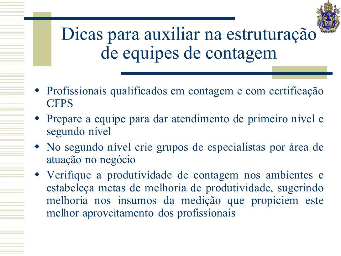 Dicas para auxiliar na estruturação de equipes de contagem Profissionais qualificados em contagem e com certificação CFPS Prepare a equipe para dar at