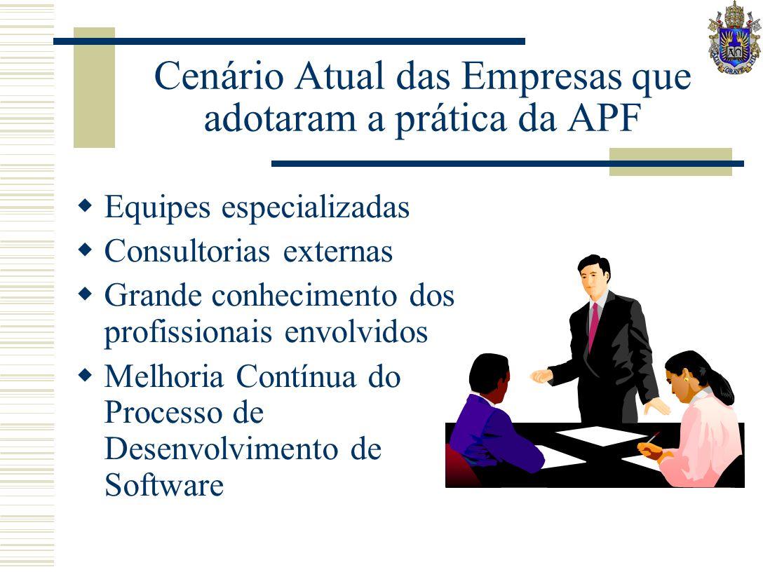 Cenário Atual das Empresas que adotaram a prática da APF Equipes especializadas Consultorias externas Grande conhecimento dos profissionais envolvidos Melhoria Contínua do Processo de Desenvolvimento de Software