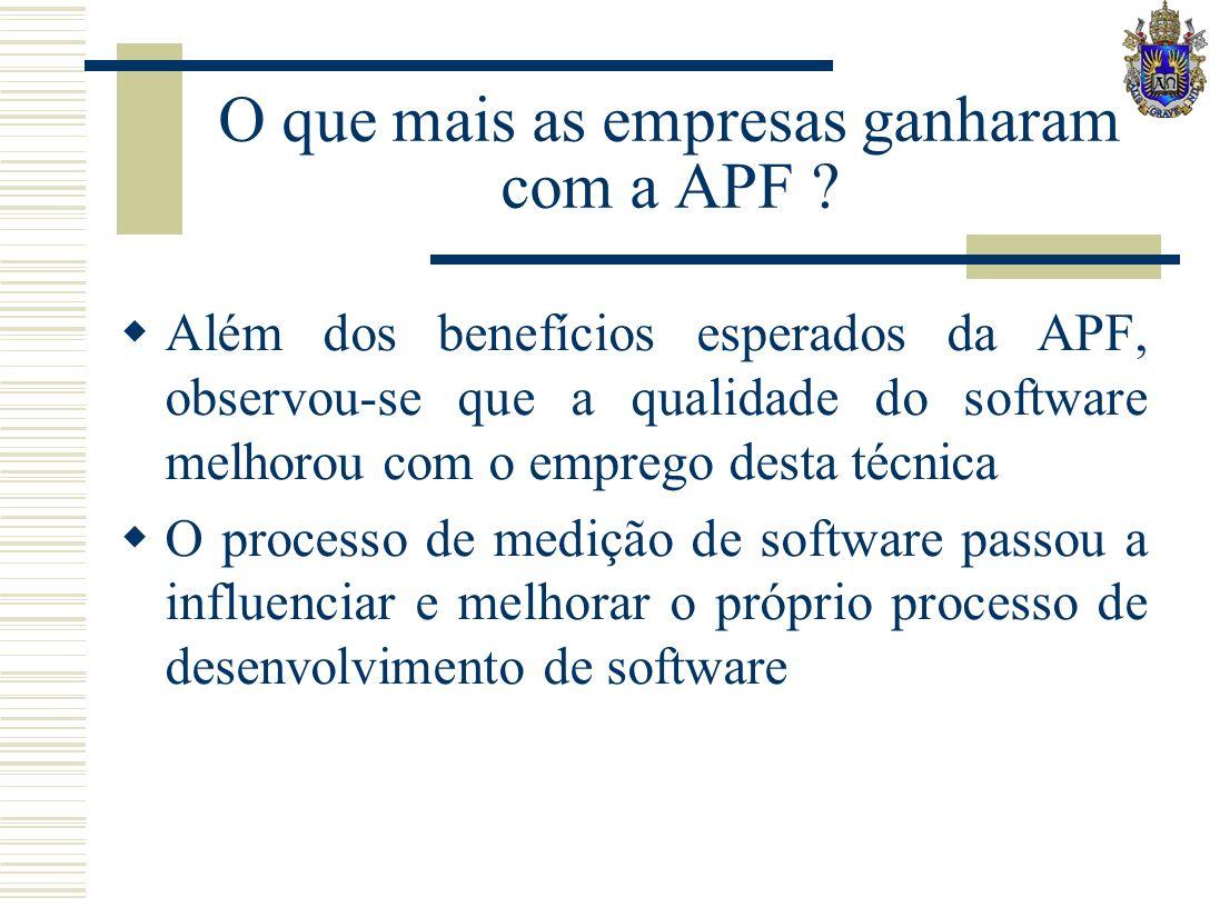 O que mais as empresas ganharam com a APF ? Além dos benefícios esperados da APF, observou-se que a qualidade do software melhorou com o emprego desta