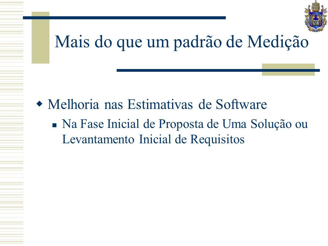Mais do que um padrão de Medição Melhoria nas Estimativas de Software Na Fase Inicial de Proposta de Uma Solução ou Levantamento Inicial de Requisitos