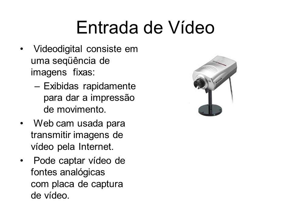 Entrada de Vídeo Videodigital consiste em uma seqüência de imagens fixas: –Exibidas rapidamente para dar a impressão de movimento. Web cam usada para