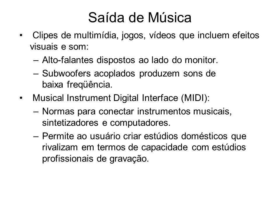 Saída de Música Clipes de multimídia, jogos, vídeos que incluem efeitos visuais e som: –Alto-falantes dispostos ao lado do monitor. –Subwoofers acopla