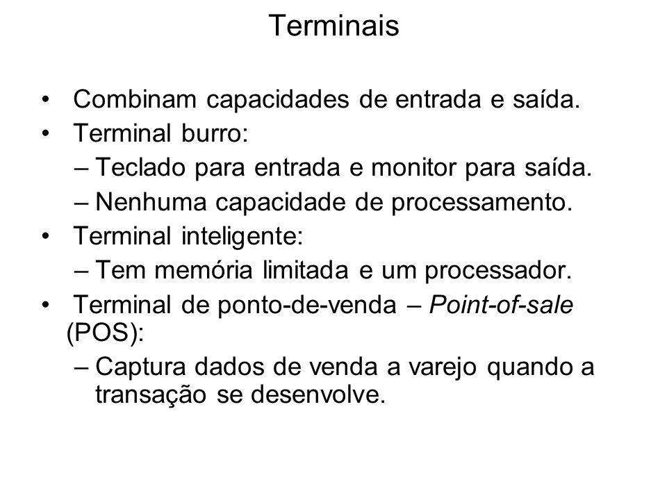 Terminais Combinam capacidades de entrada e saída. Terminal burro: –Teclado para entrada e monitor para saída. –Nenhuma capacidade de processamento. T
