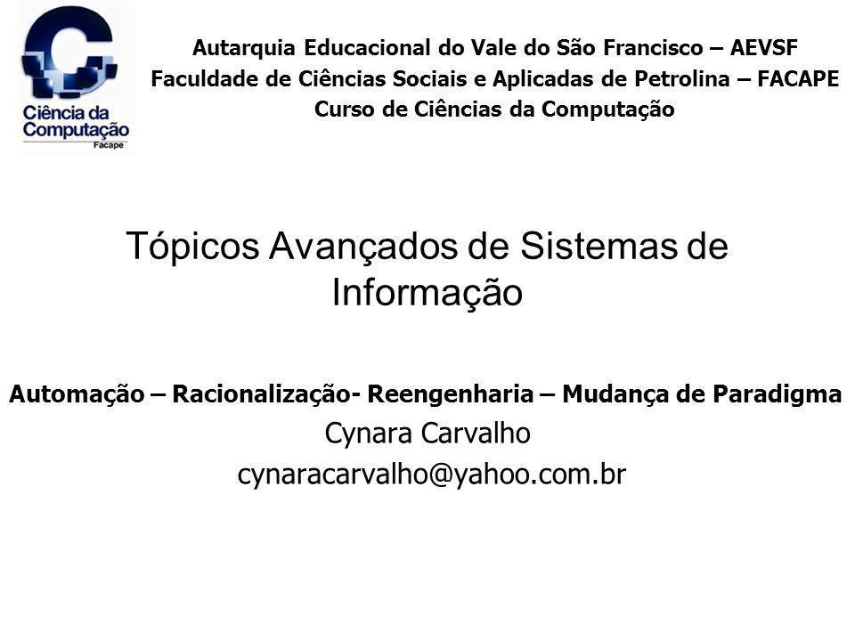 Tópicos Avançados de Sistemas de Informação Automação – Racionalização- Reengenharia – Mudança de Paradigma Cynara Carvalho cynaracarvalho@yahoo.com.b