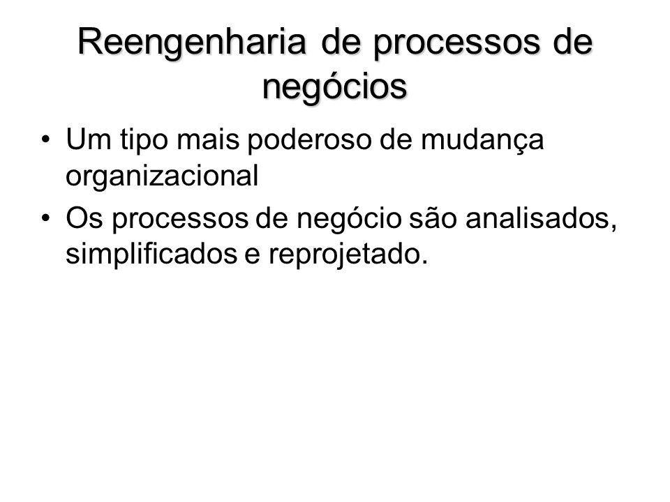Reengenharia de processos de negócios Um tipo mais poderoso de mudança organizacional Os processos de negócio são analisados, simplificados e reprojet