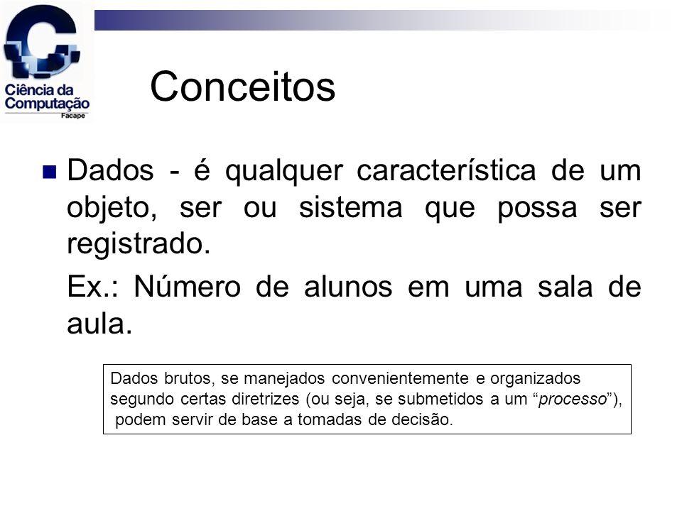 Conceitos Dados - é qualquer característica de um objeto, ser ou sistema que possa ser registrado. Ex.: Número de alunos em uma sala de aula. Dados br