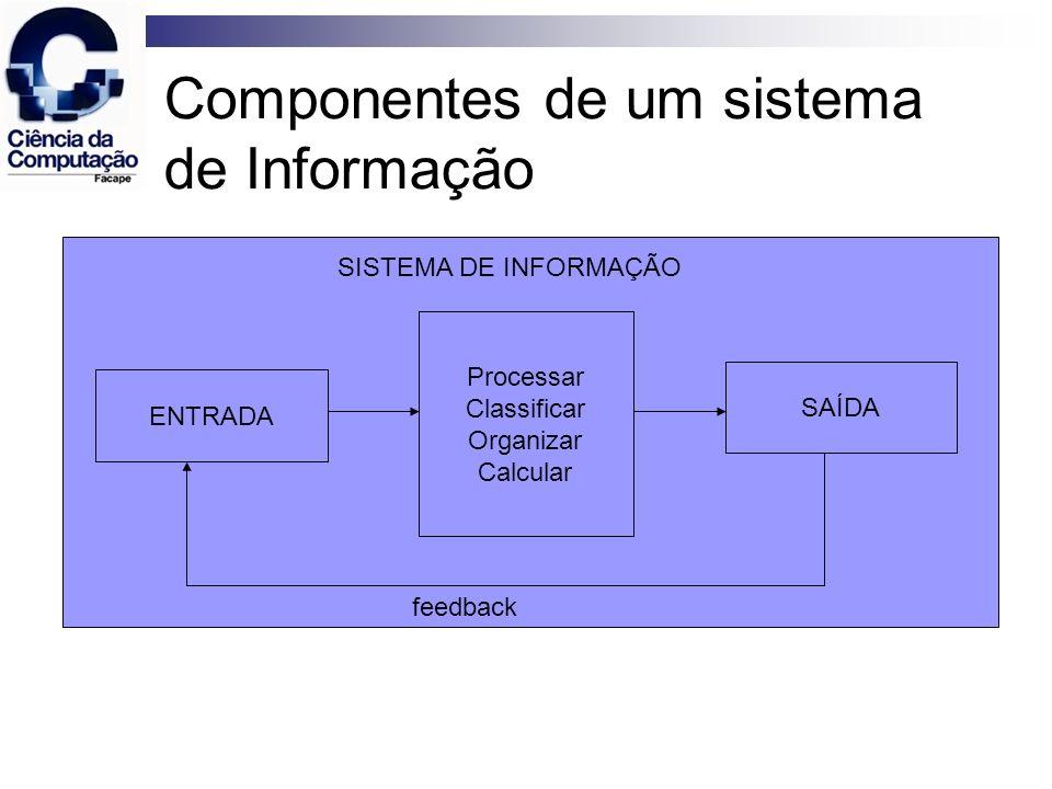 Componentes de um sistema de Informação Entrada – captura ou coleta dados brutos de dentro da organização ou de seu ambiente externo.