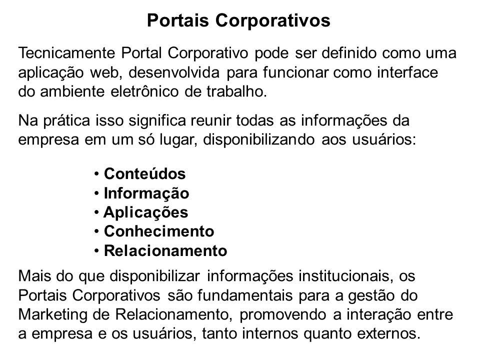 Portais Corporativos Tecnicamente Portal Corporativo pode ser definido como uma aplicação web, desenvolvida para funcionar como interface do ambiente