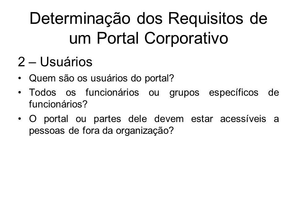 Determinação dos Requisitos de um Portal Corporativo 2 – Usuários Quem são os usuários do portal? Todos os funcionários ou grupos específicos de funci
