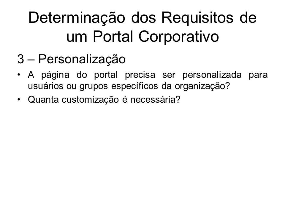 Determinação dos Requisitos de um Portal Corporativo 3 – Personalização A página do portal precisa ser personalizada para usuários ou grupos específic
