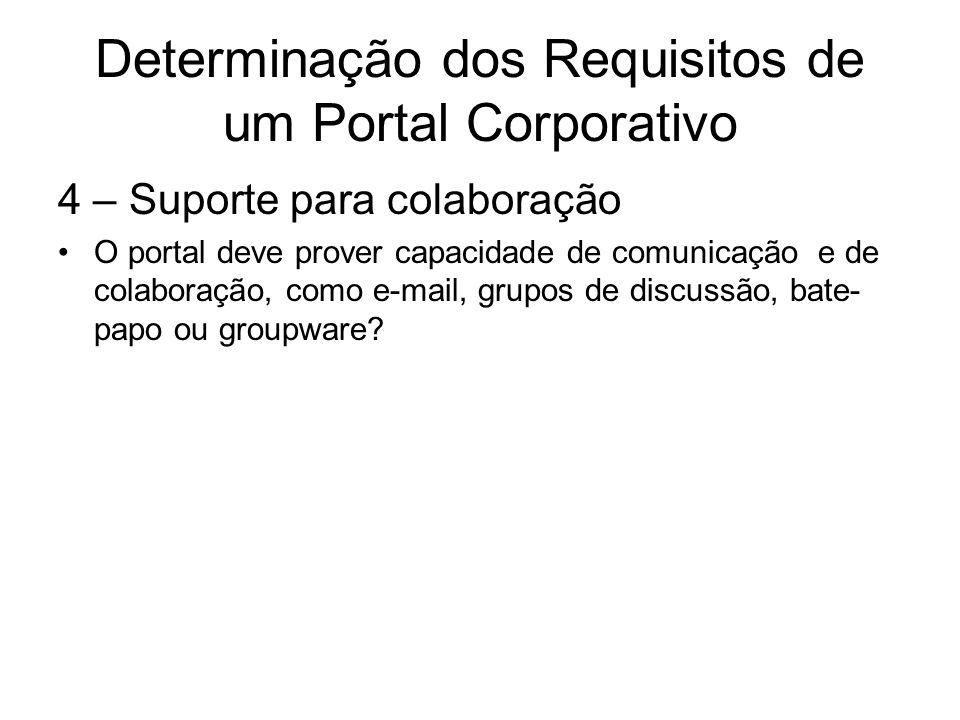 Determinação dos Requisitos de um Portal Corporativo 5 – Facilidade de utilização Como o portal deve ser projetado, para que seja fácil utilizá-lo e navegar de uma fonte de informação para outra.