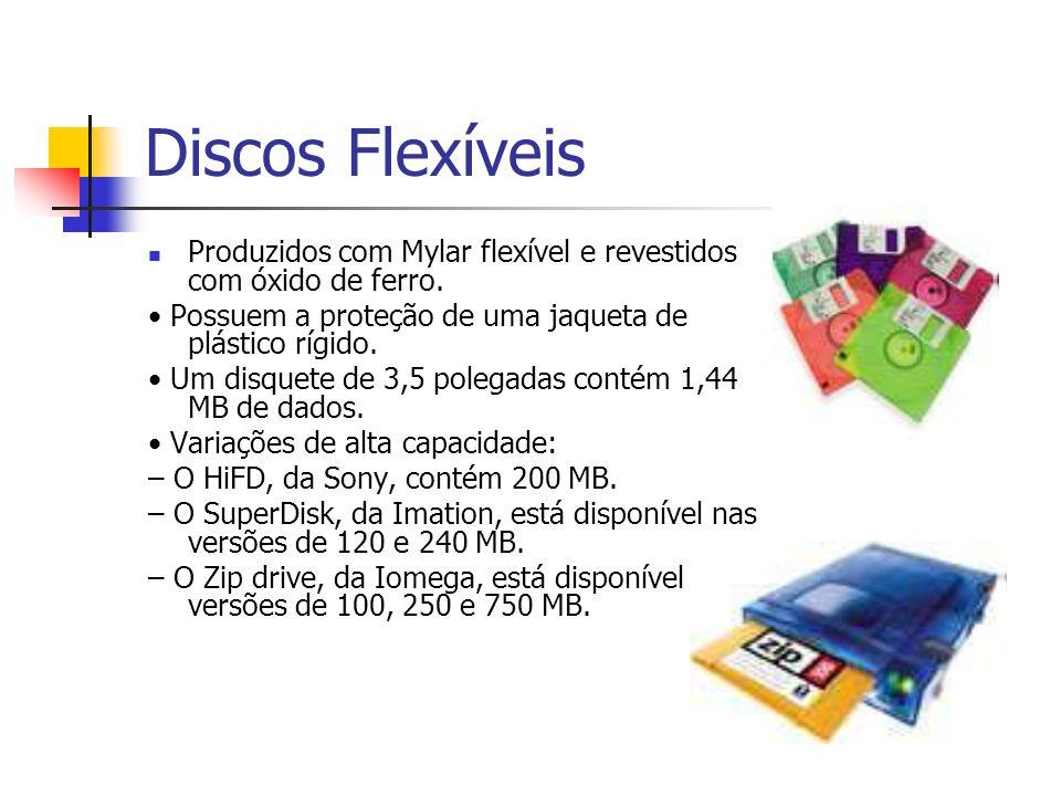 Discos Rígidos Lâmina rígida revestida com óxido magnético: – Diversas lâminas podem ser combinadas em uma única pilha de discos (disk pack).
