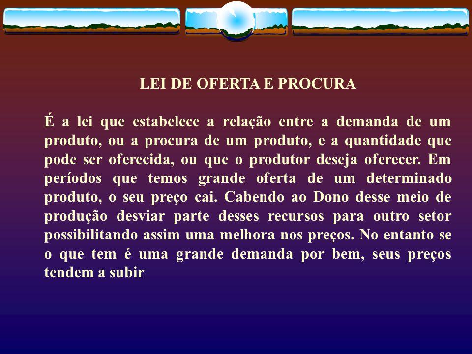 LEI DE OFERTA E PROCURA É a lei que estabelece a relação entre a demanda de um produto, ou a procura de um produto, e a quantidade que pode ser oferec