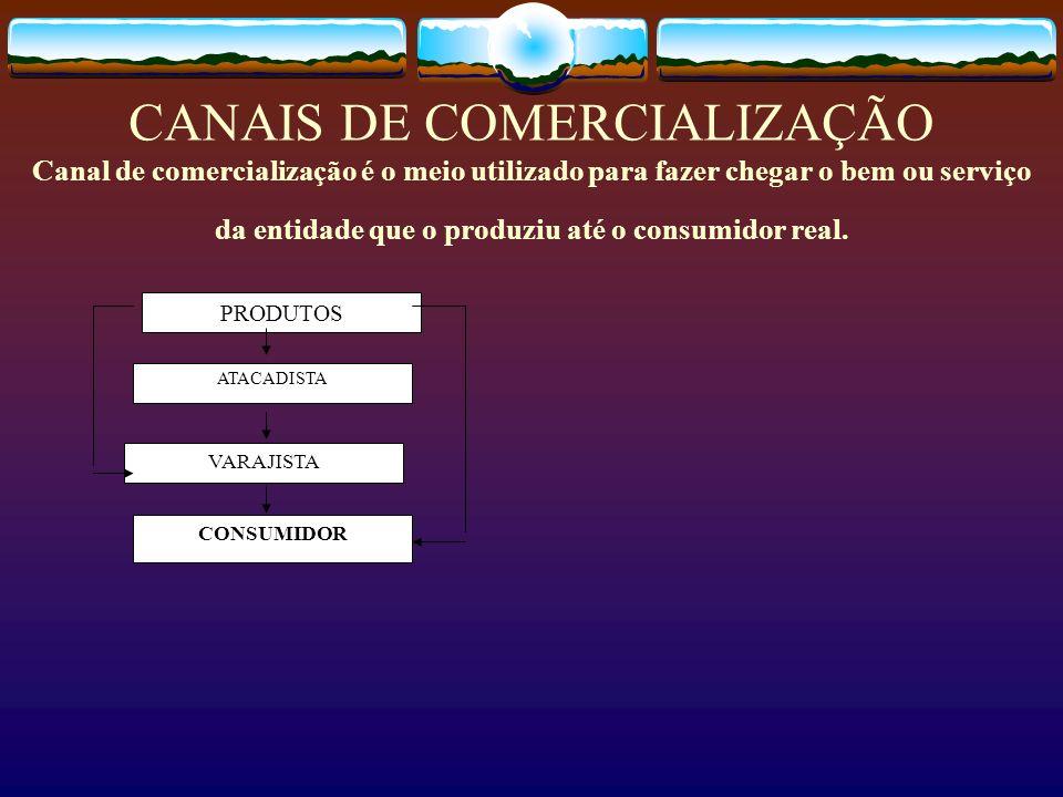 CANAIS DE COMERCIALIZAÇÃO Canal de comercialização é o meio utilizado para fazer chegar o bem ou serviço da entidade que o produziu até o consumidor r