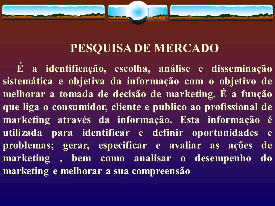 PESQUISA DE MERCADO É a identificação, escolha, análise e disseminação sistemática e objetiva da informação com o objetivo de melhorar a tomada de dec