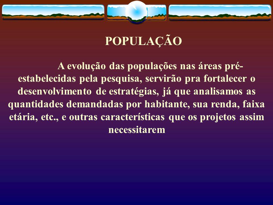 POPULAÇÃO A evolução das populações nas áreas pré- estabelecidas pela pesquisa, servirão pra fortalecer o desenvolvimento de estratégias, já que anali