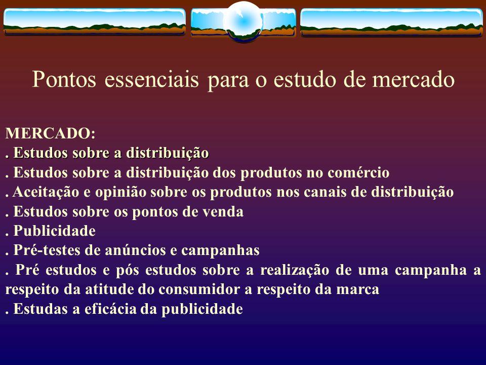 Pontos essenciais para o estudo de mercado MERCADO:. Estudos sobre a distribuição. Estudos sobre a distribuição dos produtos no comércio. Aceitação e