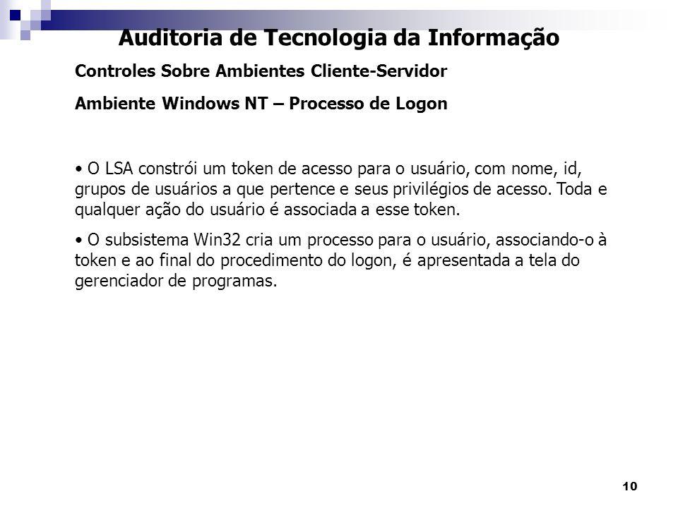 10 Auditoria de Tecnologia da Informação Controles Sobre Ambientes Cliente-Servidor Ambiente Windows NT – Processo de Logon O LSA constrói um token de