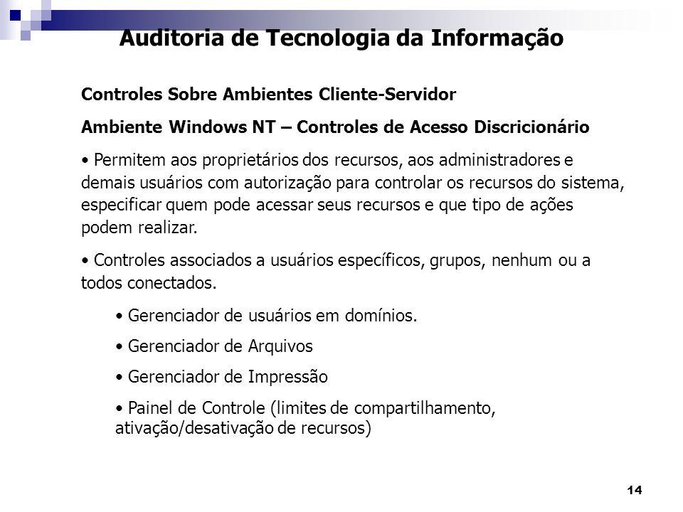 14 Auditoria de Tecnologia da Informação Controles Sobre Ambientes Cliente-Servidor Ambiente Windows NT – Controles de Acesso Discricionário Permitem