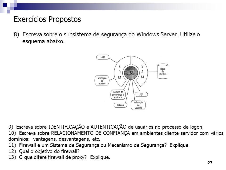 27 8) Escreva sobre o subsistema de segurança do Windows Server. Utilize o esquema abaixo. Exercícios Propostos 9) Escreva sobre IDENTIFICAÇÃO e AUTEN