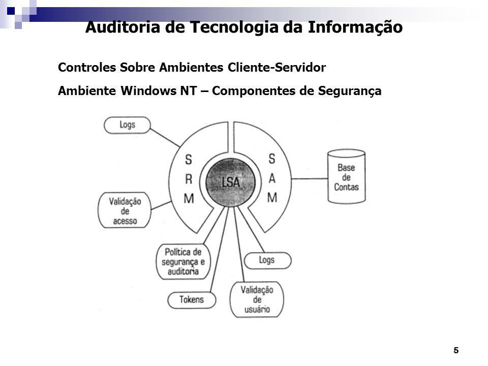 16 Auditoria de Tecnologia da Informação Controles Sobre Ambientes Cliente-Servidor Ambiente Windows NT – Ferramentas de Segurança e Auditoria Domínios e Relacionamentos de Confiança Em redes mais complexas, com vários domínios, a segurança é estabelecida a partir de relacionamentos de confiança.