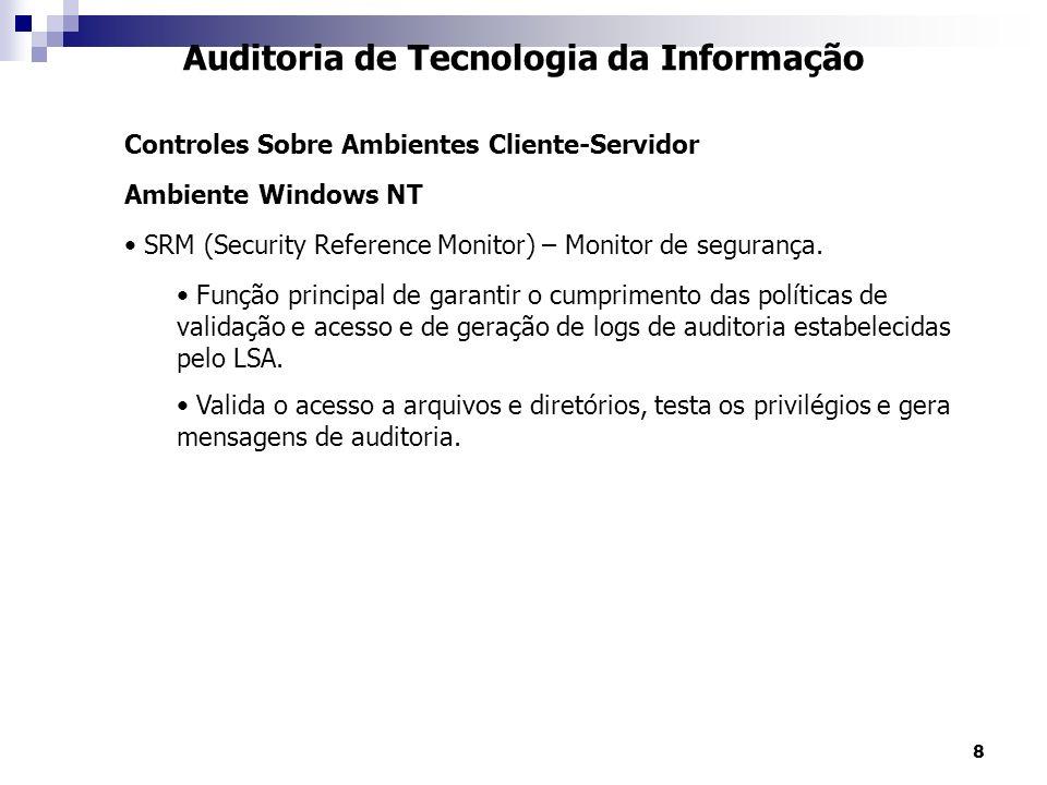 8 Auditoria de Tecnologia da Informação Controles Sobre Ambientes Cliente-Servidor Ambiente Windows NT SRM (Security Reference Monitor) – Monitor de s