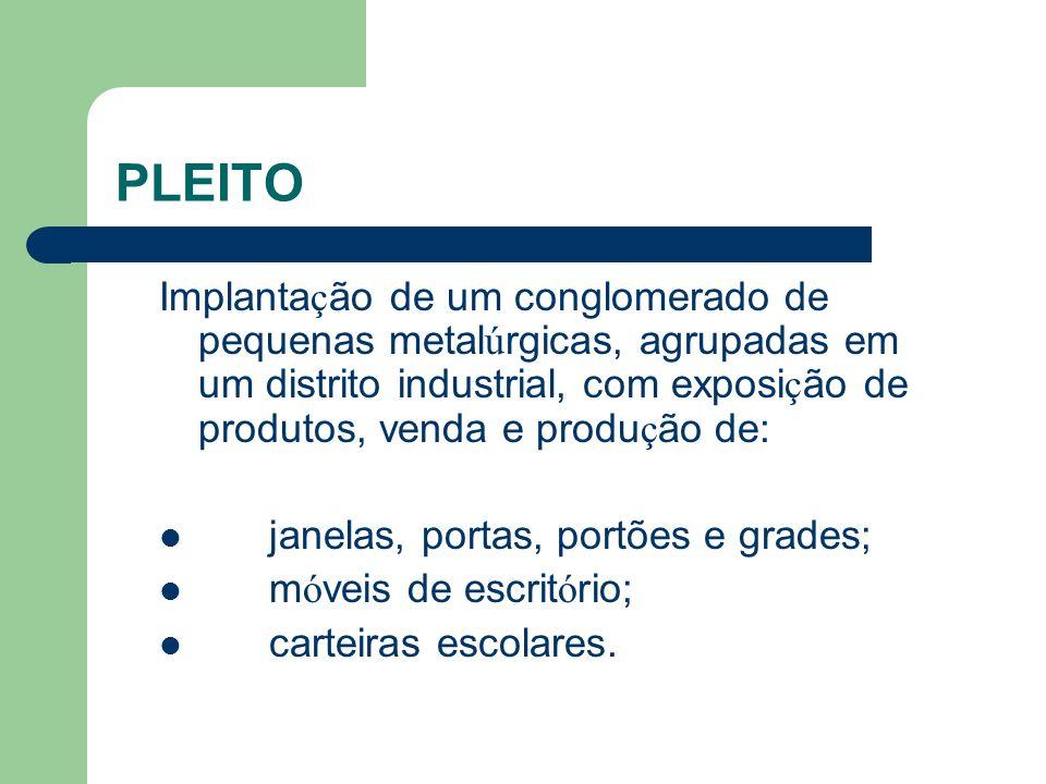 PLEITO Implanta ç ão de um conglomerado de pequenas metal ú rgicas, agrupadas em um distrito industrial, com exposi ç ão de produtos, venda e produ ç