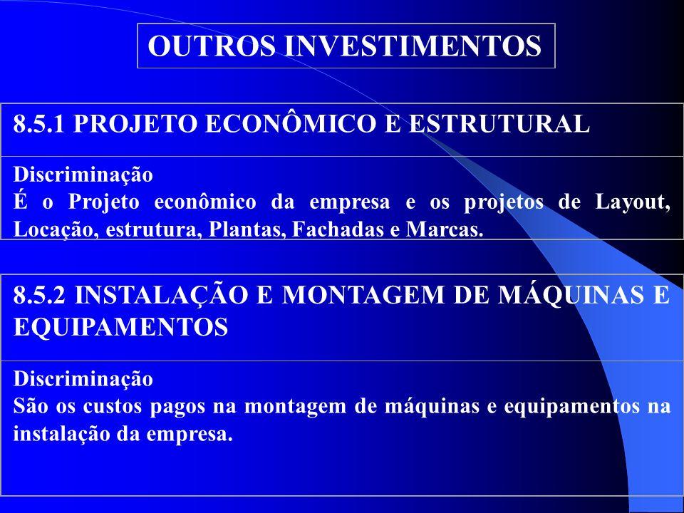 OUTROS INVESTIMENTOS 8.5.1 PROJETO ECONÔMICO E ESTRUTURAL Discriminação É o Projeto econômico da empresa e os projetos de Layout, Locação, estrutura,