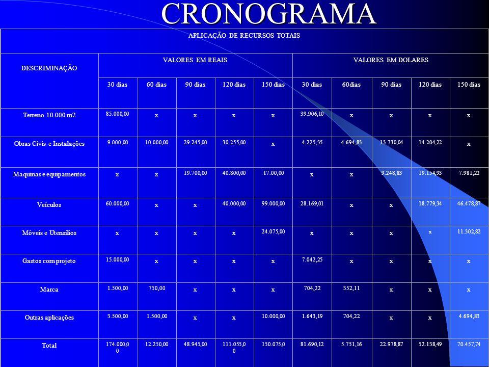 CRONOGRAMA APLICAÇÃO DE RECURSOS TOTAIS DESCRIMINAÇÃO VALORES EM REAISVALORES EM DOLARES 30 dias60 dias90 dias120 dias150 dias30 dias60dias90 dias120