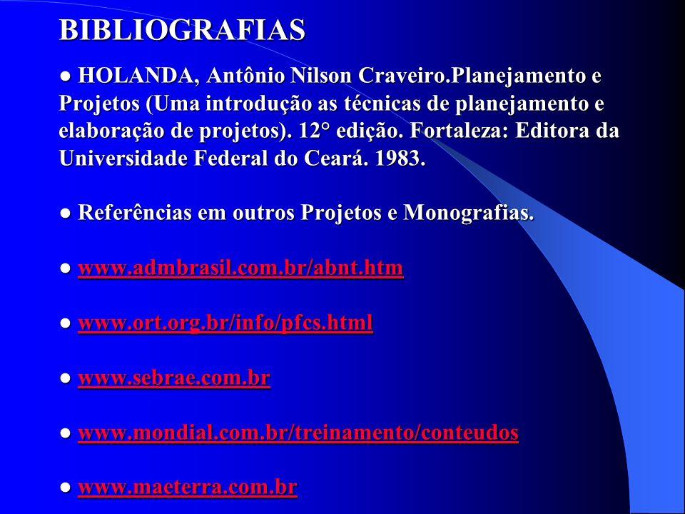 BIBLIOGRAFIAS HOLANDA, Antônio Nilson Craveiro.Planejamento e Projetos (Uma introdução as técnicas de planejamento e elaboração de projetos). 12° ediç