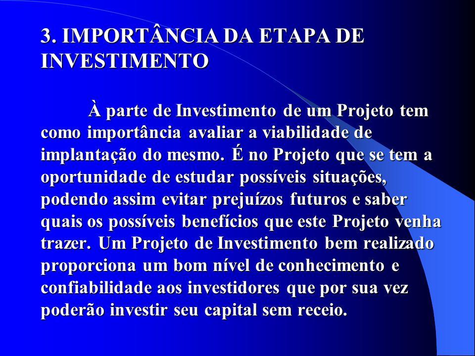 3. IMPORTÂNCIA DA ETAPA DE INVESTIMENTO À parte de Investimento de um Projeto tem como importância avaliar a viabilidade de implantação do mesmo. É no