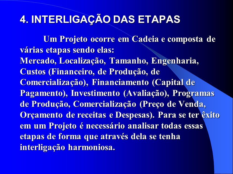 4. INTERLIGAÇÃO DAS ETAPAS Um Projeto ocorre em Cadeia e composta de várias etapas sendo elas: Mercado, Localização, Tamanho, Engenharia, Custos (Fina