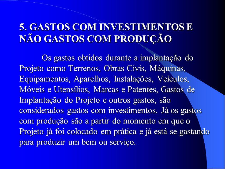 5. GASTOS COM INVESTIMENTOS E NÃO GASTOS COM PRODUÇÃO Os gastos obtidos durante a implantação do Projeto como Terrenos, Obras Civis, Máquinas, Equipam