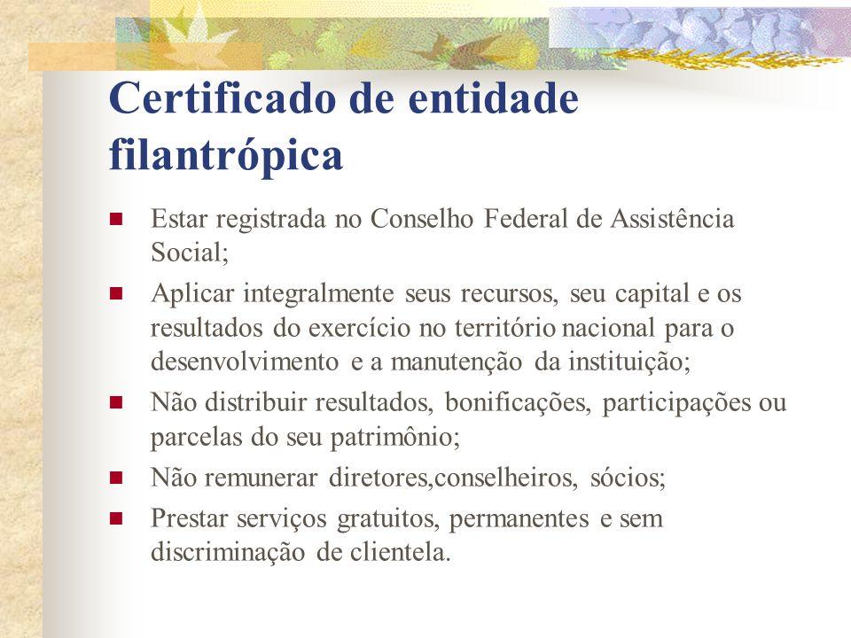 Certificado de entidade filantrópica Estar registrada no Conselho Federal de Assistência Social; Aplicar integralmente seus recursos, seu capital e os