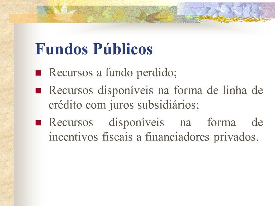 Fundos Públicos Recursos a fundo perdido; Recursos disponíveis na forma de linha de crédito com juros subsidiários; Recursos disponíveis na forma de i