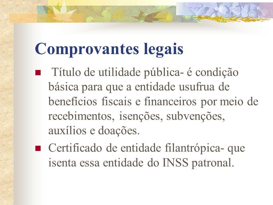 Comprovantes legais Título de utilidade pública- é condição básica para que a entidade usufrua de benefícios fiscais e financeiros por meio de recebim