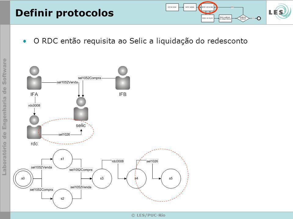 © LES/PUC-Rio O RDC então requisita ao Selic a liquidação do redesconto Definir protocolos