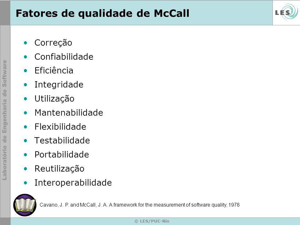 © LES/PUC-Rio Fatores de qualidade de McCall Correção Confiabilidade Eficiência Integridade Utilização Mantenabilidade Flexibilidade Testabilidade Portabilidade Reutilização Interoperabilidade Cavano, J.