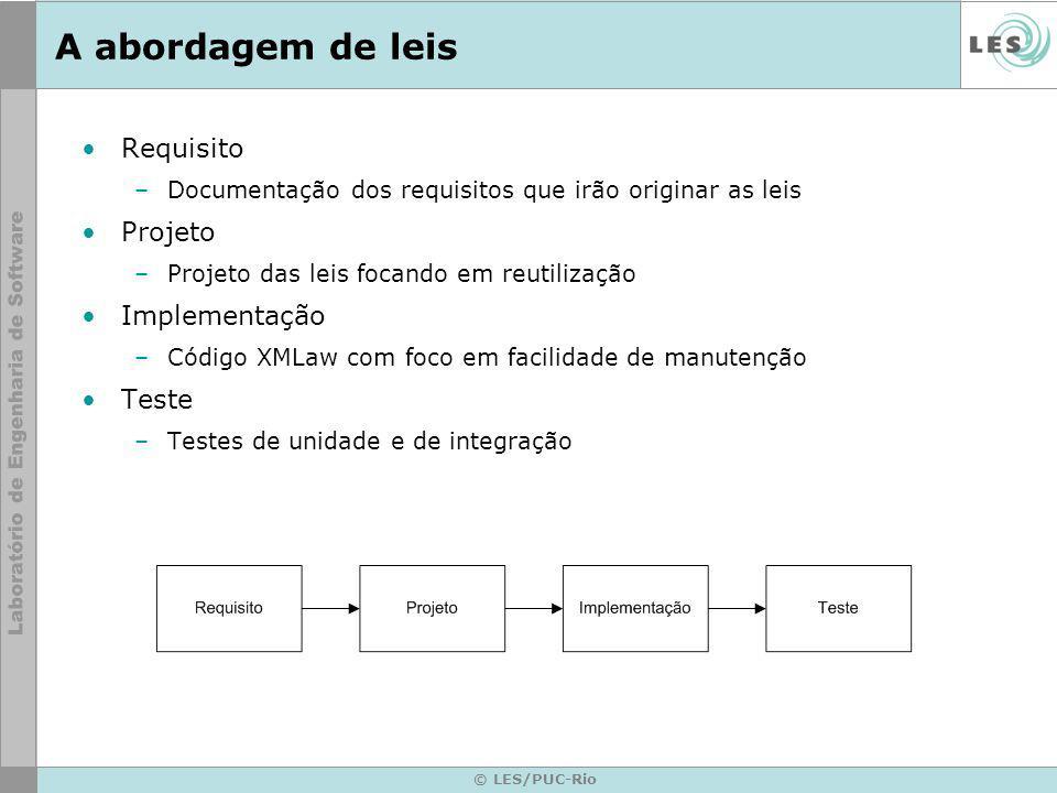 © LES/PUC-Rio A abordagem de leis Requisito –Documentação dos requisitos que irão originar as leis Projeto –Projeto das leis focando em reutilização Implementação –Código XMLaw com foco em facilidade de manutenção Teste –Testes de unidade e de integração