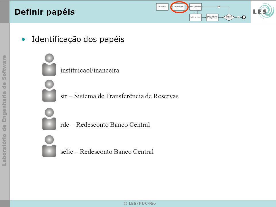 © LES/PUC-Rio Definir papéis Identificação dos papéis instituicaoFinanceira str – Sistema de Transferência de Reservas rdc – Redesconto Banco Central selic – Redesconto Banco Central