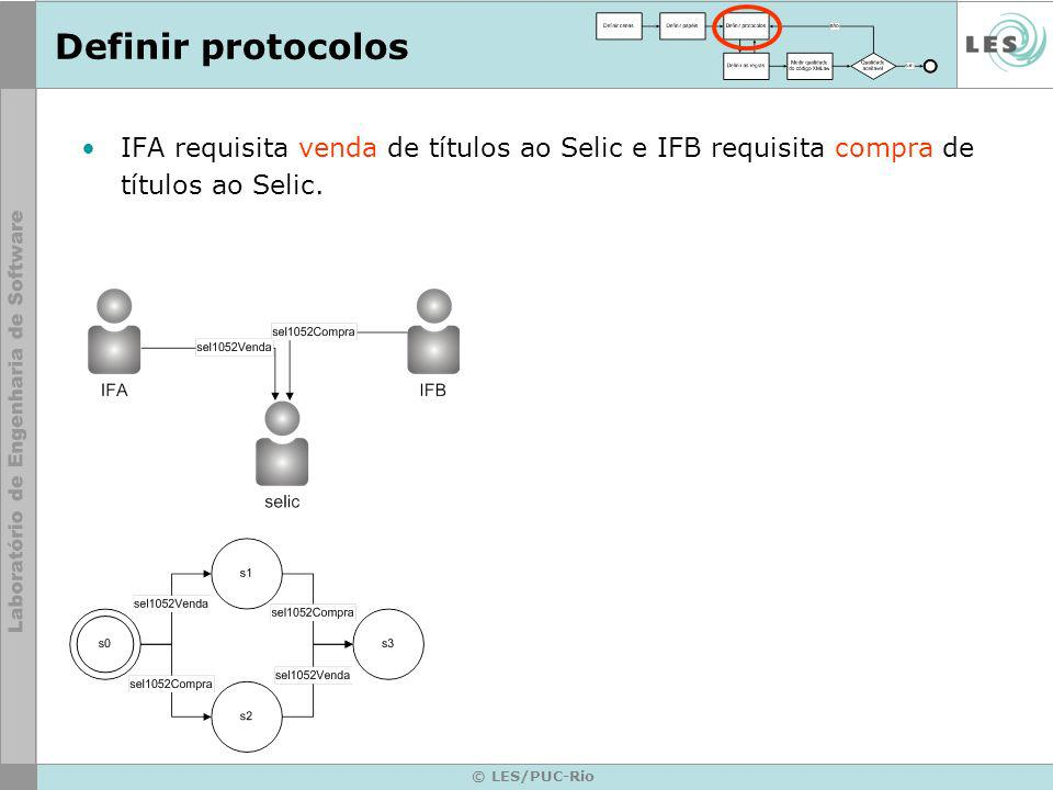 © LES/PUC-Rio Definir protocolos IFA requisita venda de títulos ao Selic e IFB requisita compra de títulos ao Selic.